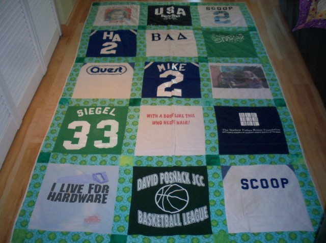 Custom quilt created using clients' old T-shirts