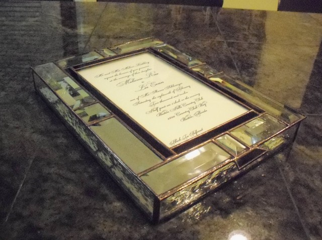 Stained glass beveled invitation box with dark solder patina