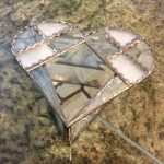 Gorgeous stained glass heart shaped beveled box.