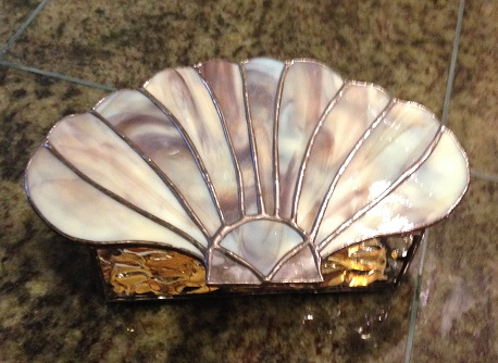 Scallop shell stained glass box.