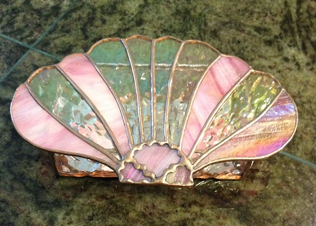 Scallop shell stained glass box