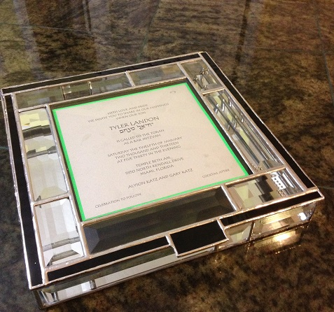 Beveled glass invitation box with silver solder patina