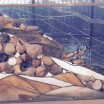Seashell stained glass panel