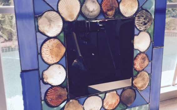 Custom stained glass shell mirror