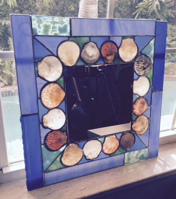 "Blue Square Scallop Shell Mirror with light shining through.  15"" square"