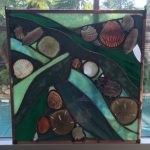 """Free Form Glass and Shells - Green - 12""""x12"""" - sunlight coming through"""
