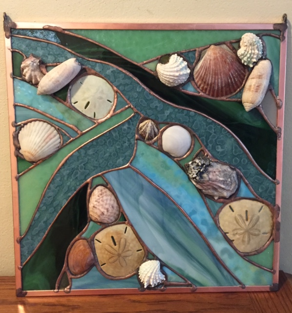 """Free Form Glass and Shells - Green - 12""""x12"""" - no light coming through"""