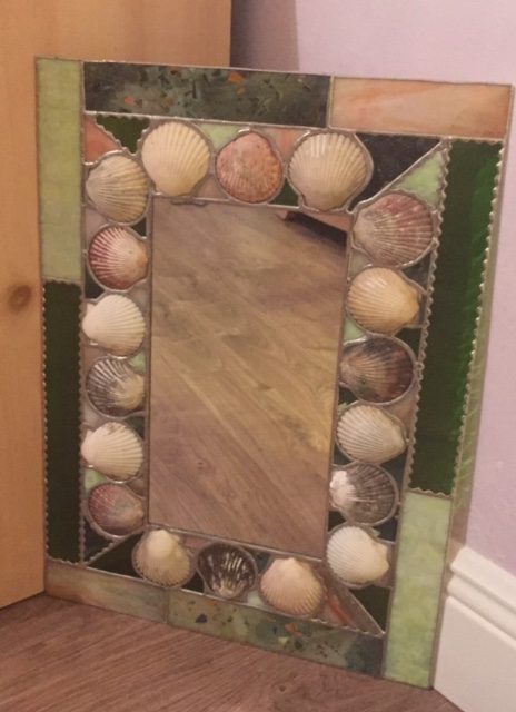 "Green Confetti Scallop Shell Mirror - 14""x20"""