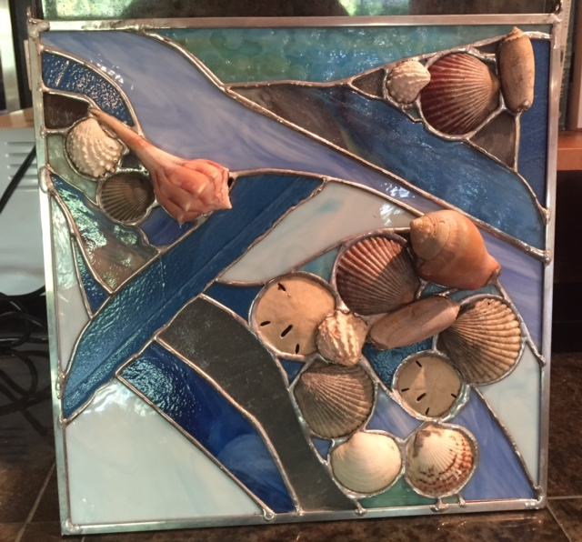 """Free Form Glass and Shells - Blue - 12""""x12"""""""