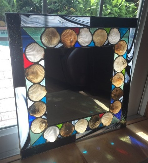 "20""x20"" scallop shell mirror"