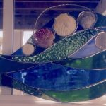 Blue Green stained glass fish - Medium