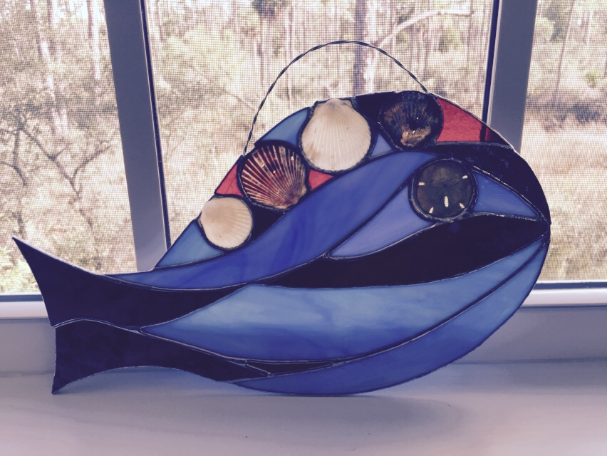 Blue & Red Stained Glass fish - medium