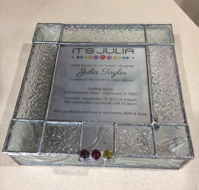 Clear and iridescent glass invitation box